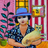 Woman with blue hat 30x30cm see http://www.withoutanimaltesting.com/art